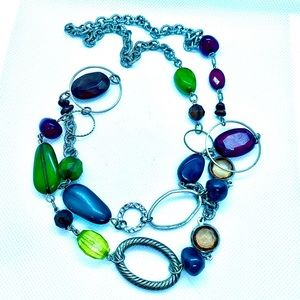 Big Links and Colorful Synthetic Stones Necklace